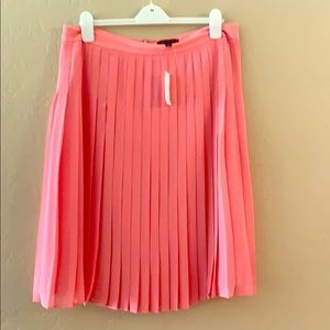 NWT ann Taylor chiffon pleated pink skirt as 14